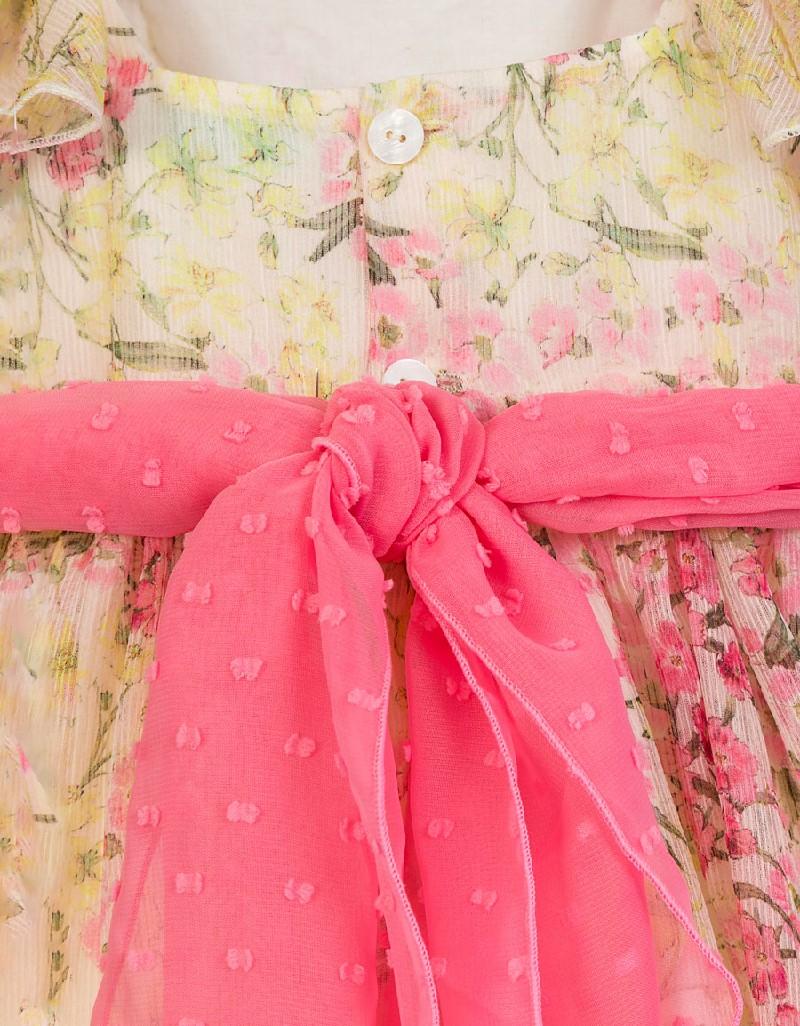 Chewingum Jacquard Dress On Straps With Ruffle And Belt