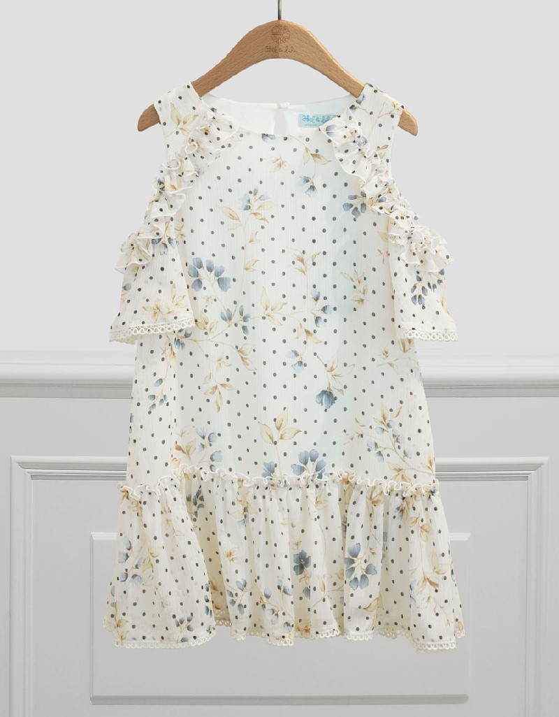 Navy Wide Skirt Printed Dress