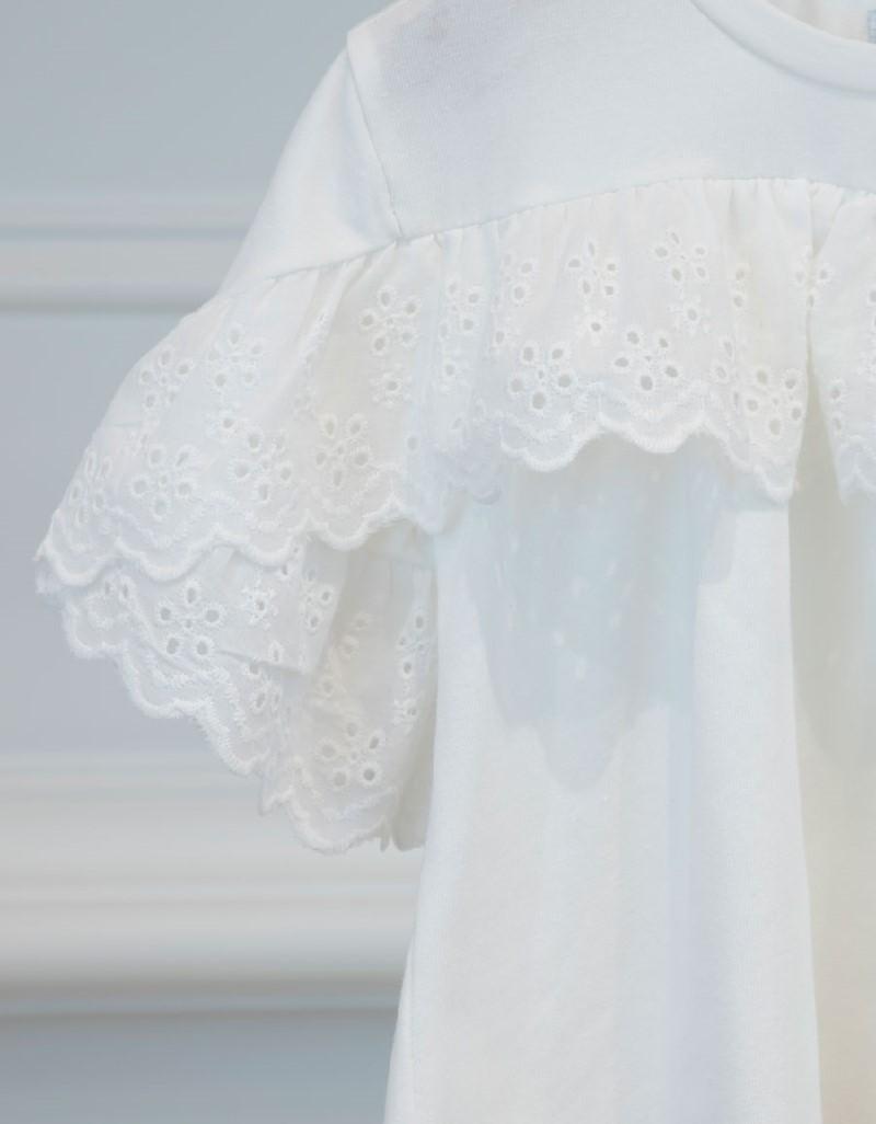 Natural Perforated Ruffled Shirt