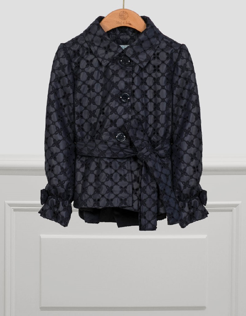 Navy Perforated Trench Coat