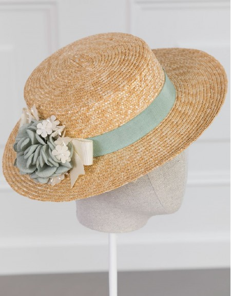 Anise Floral Boater Hat