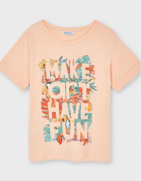 Apricot Leaf Letters Print T-Shirt