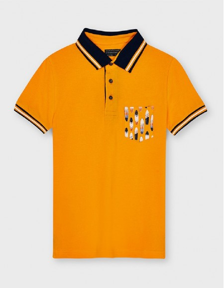 Peach Short Sleeve Patterned Polo