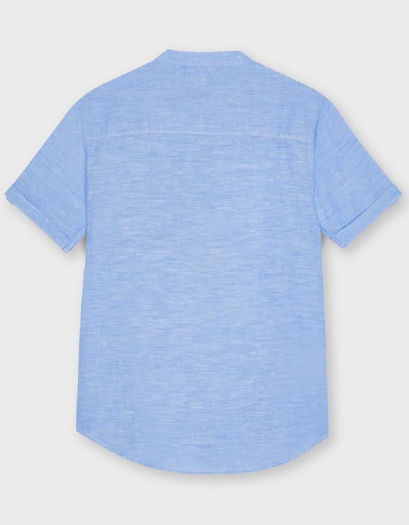 Lightblue Grandad Collar Short Sleeved Shirt