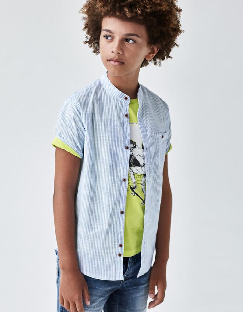 Lightblue Short Sleeved Plain Two Tone Polo Shirt