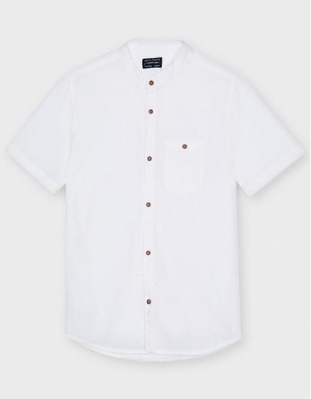 White Short Sleeved Plain Two Tone Polo Shirt