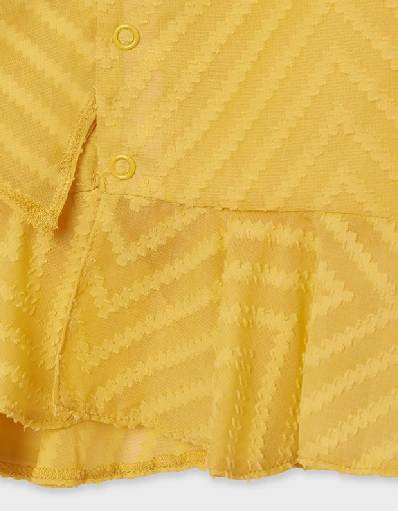 Mustard Structured Blouse With Ruffle For Older