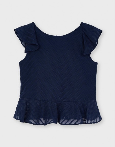 Navy Structured Blouse With Ruffle For Older