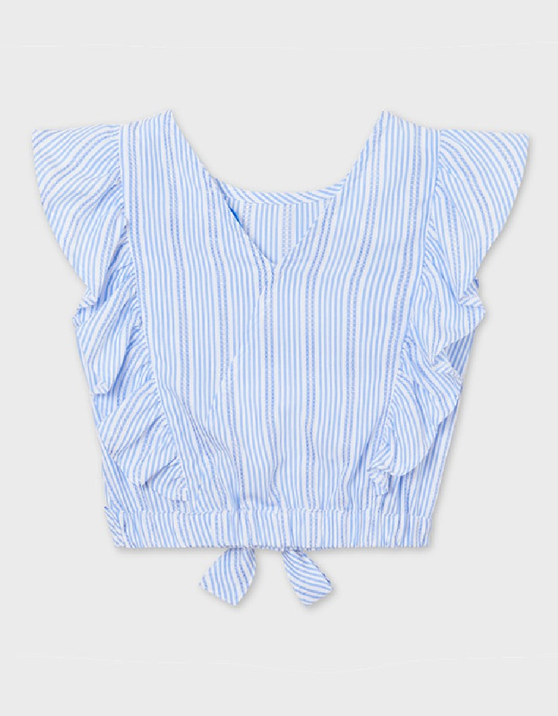 Ice Stripes Bow Loose Shirt