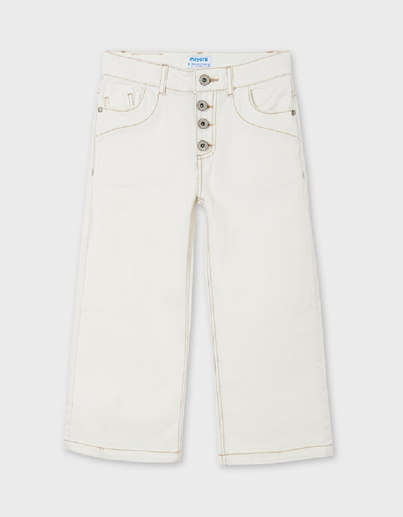 Natural Cropped Twill Trousers