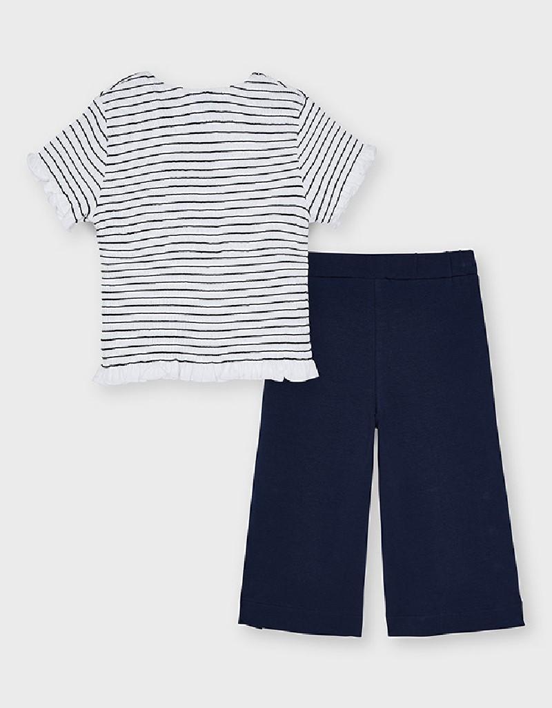 Navy Girl'S Knitwear Trouser Set