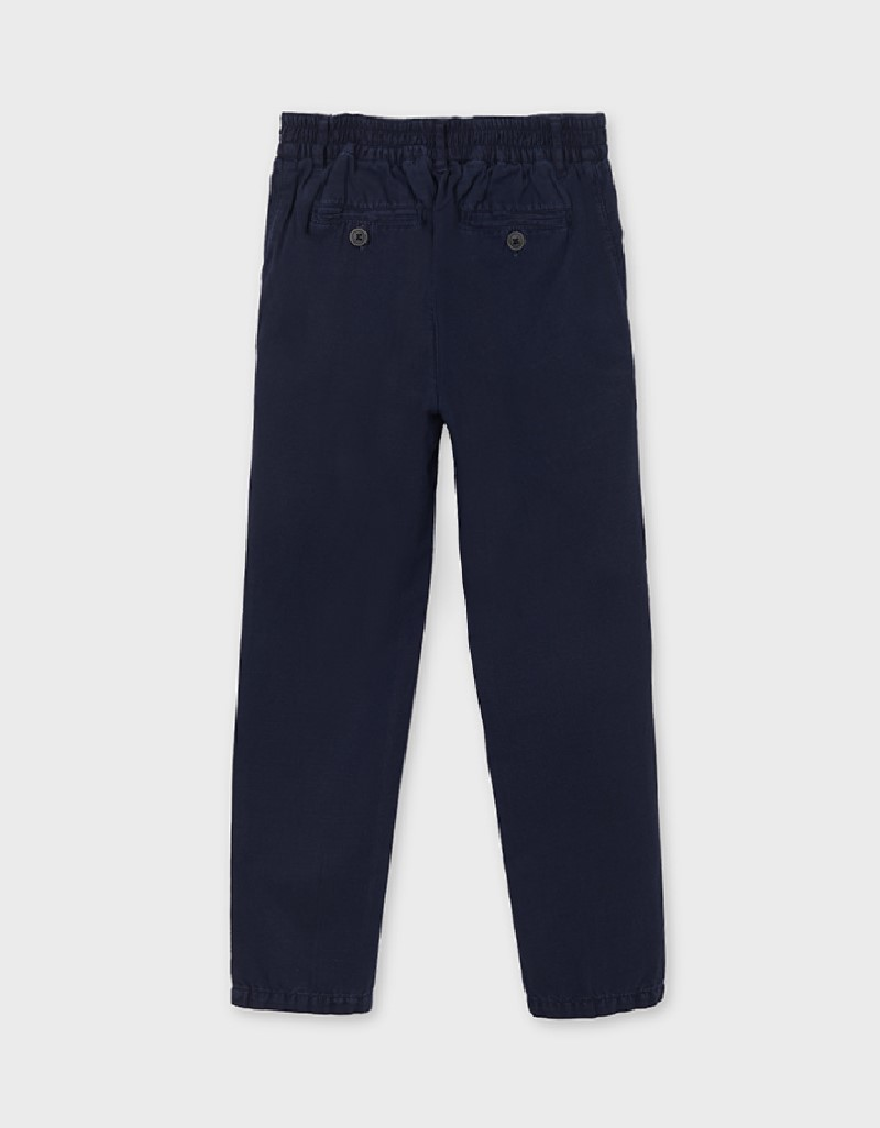 Navy Linen Tailored Trousers For Older