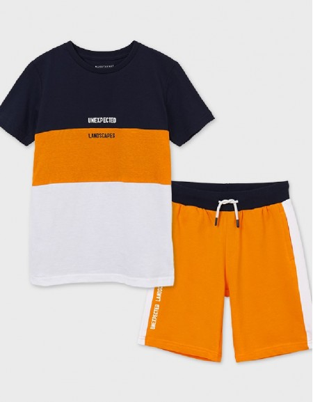 Peach Set Of Block T-Shirt And Shorts