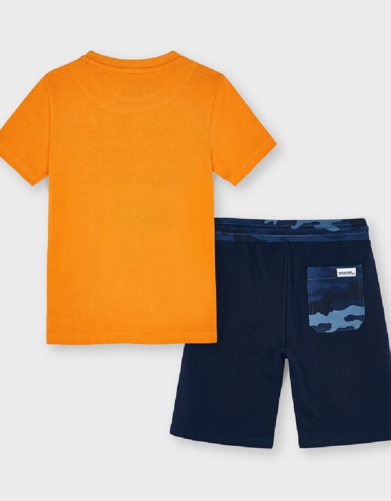 Dark Peach Set Of Knit Camo T-Shirt