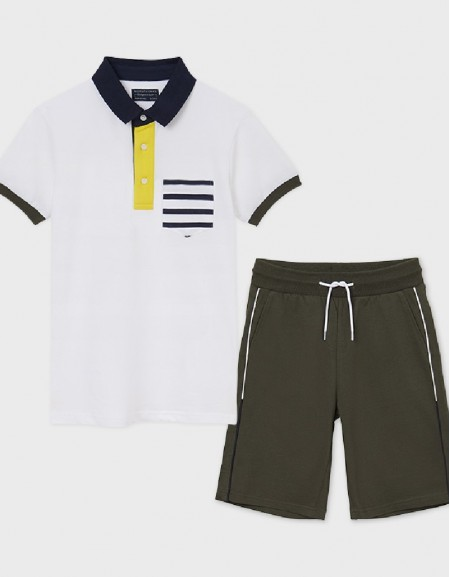 White Set Of Knit Polo And Shorts