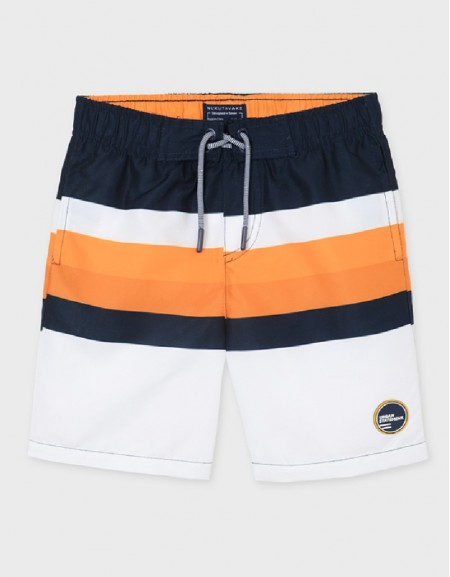 Peach Striped Swim Shorts