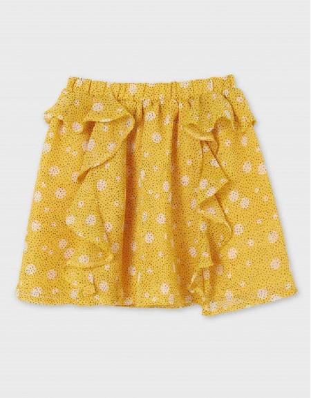 Mustard Printed Flounced Skirt