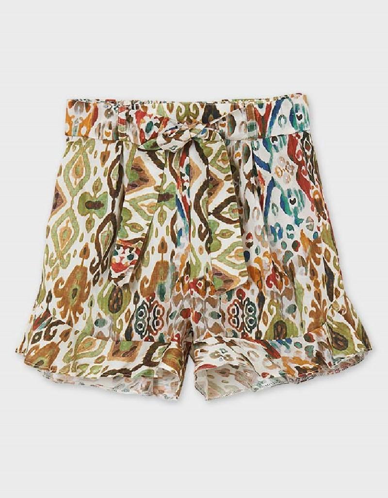 Hunt Green Patterned Pant Skirt