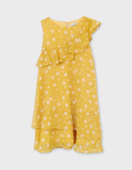 Mustard Printed Flounces Dress