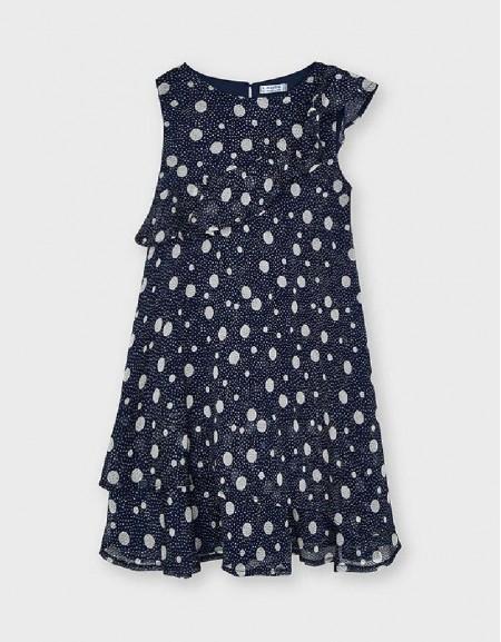 Navy Printed Flounces Dress