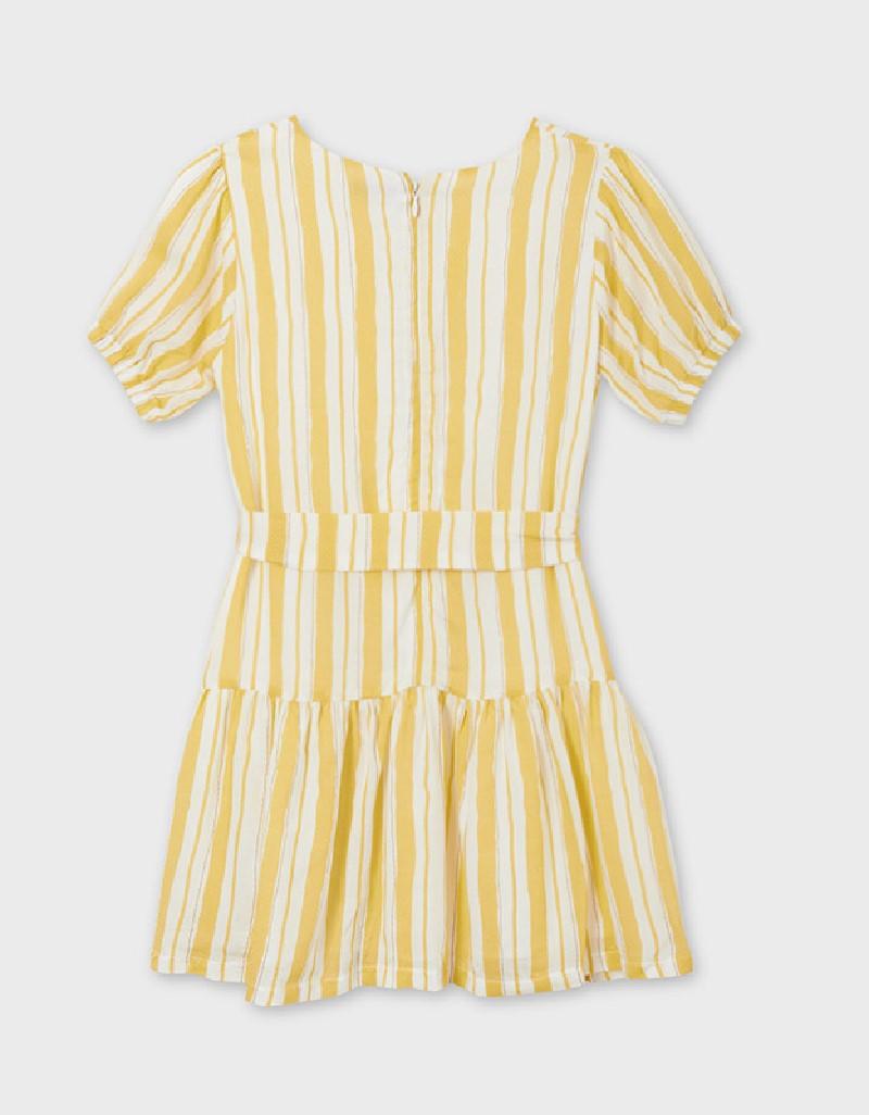 Mustard Striped Dress With Belt