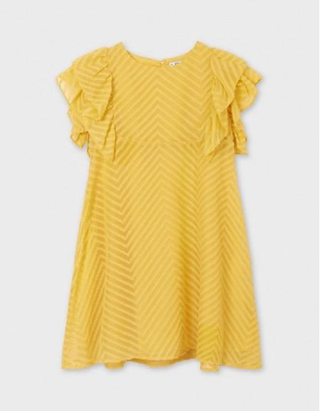 Mustard Dress With Ruffles