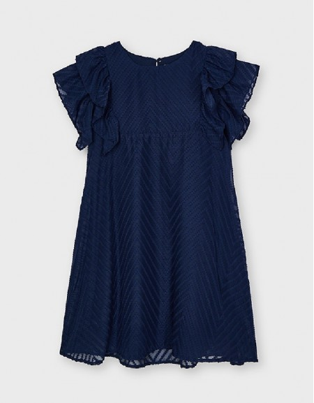 Navy Dress With Ruffles