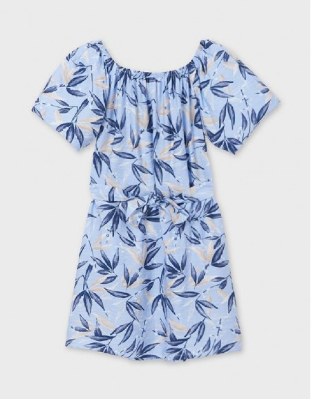 Sky Leaf Print Dress