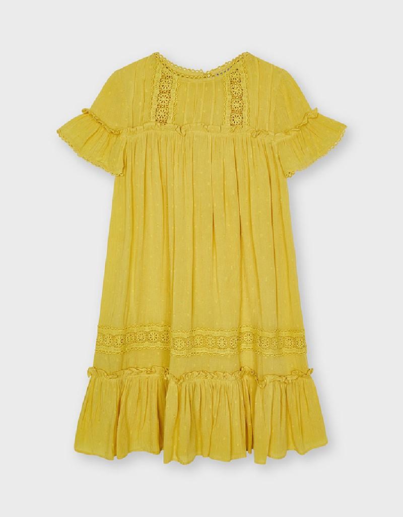 Mustard Plumeti Dress
