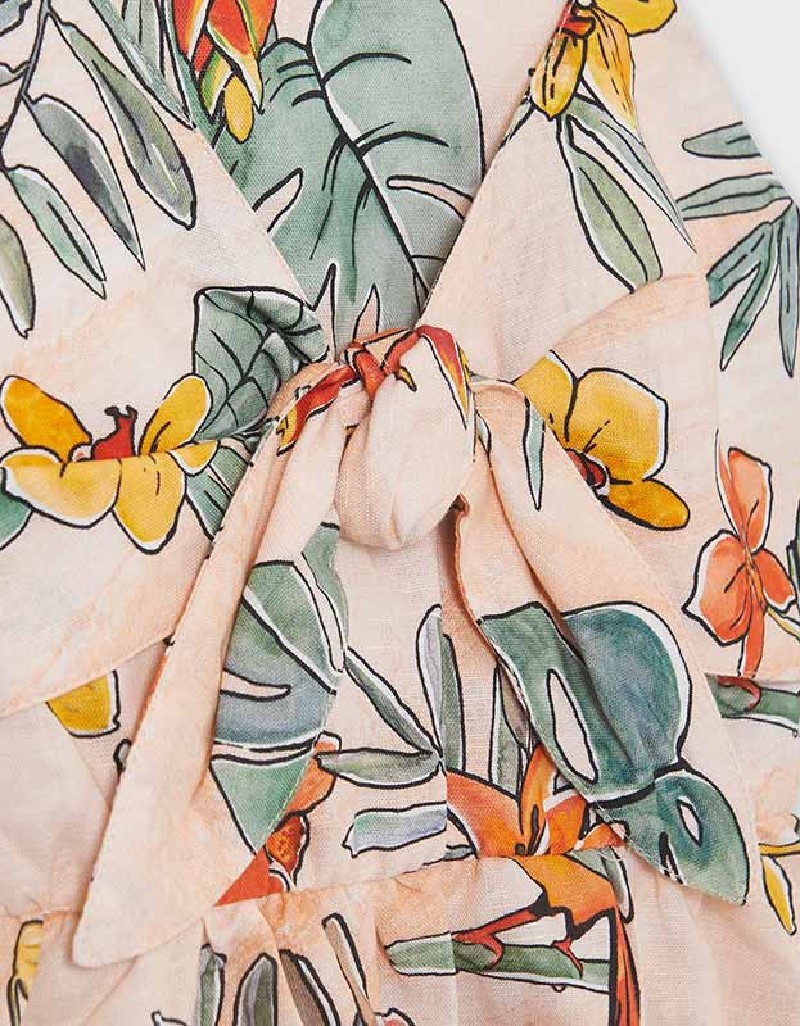 Peach Knotted Print Dress