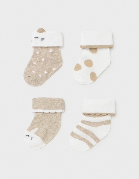 Taupe Set Of 4 Newborn Girl'S Socks