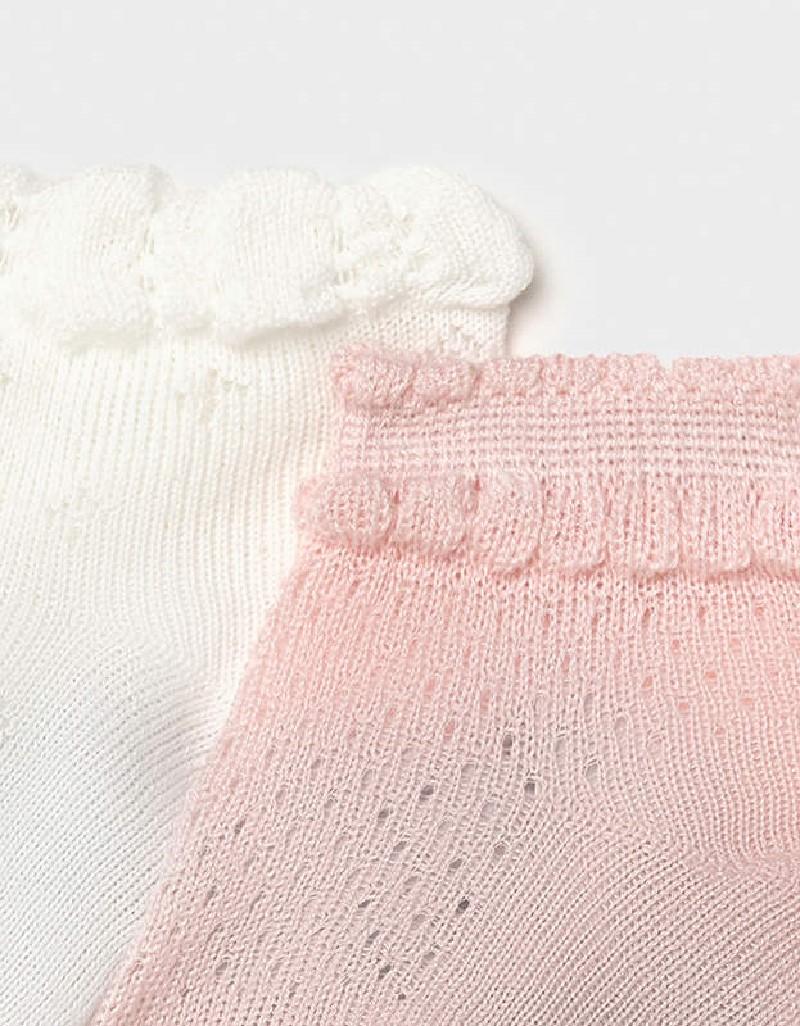 Pale Blush Set Of 2 Newborn Girl Socks