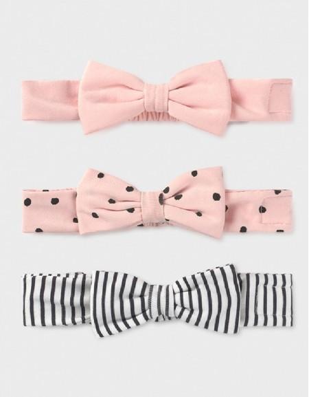Pale Blush Set Of 3 Newborn Girl'S Headbands