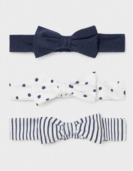 Navy Set Of 3 Newborn Girl'S Headbands