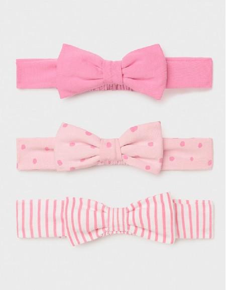 Pink Set Of 3 Newborn Girl'S Headbands