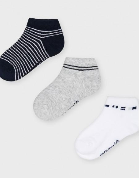 White Set Of Three Socks