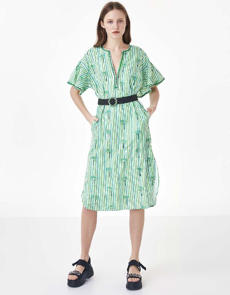 Green Guipure binding transition dress