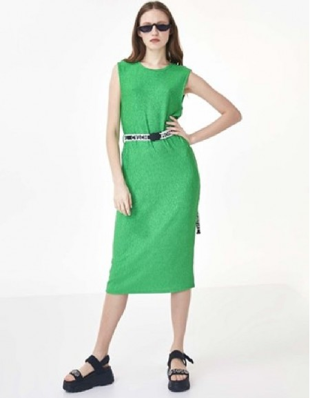 Green Slogan Knitted Belted Dress