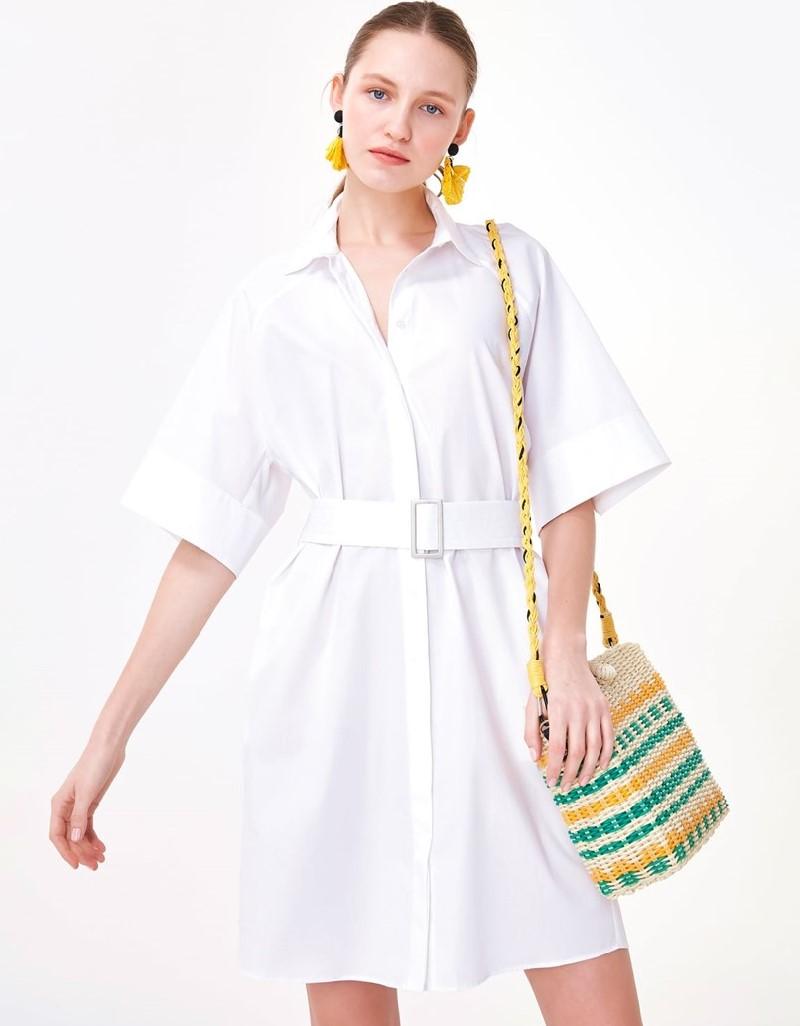 White Belted Shirt Dress