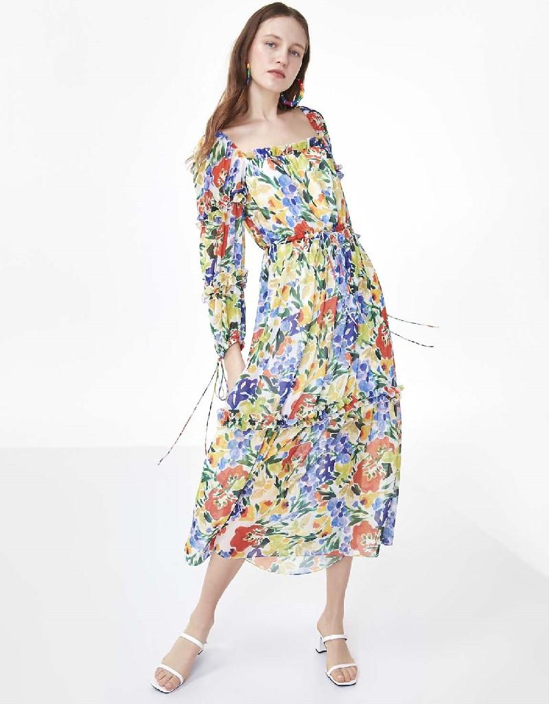 Off White Ruffle Striped Flower Patterned Dress