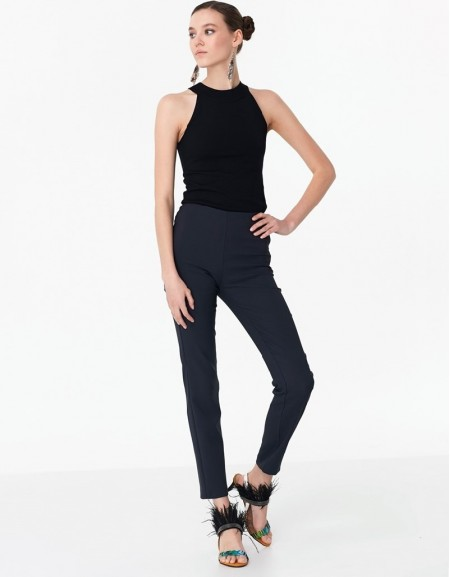 Navy Pants With Zipper