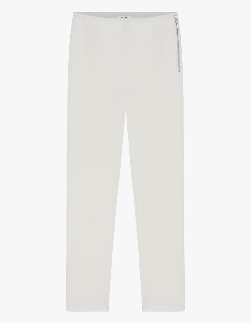 Ecru Pants With Zipper