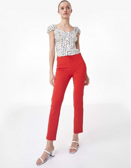 Vermilion Pants With Zipper