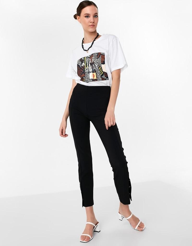 Black Pants With Snap Fastener On Leg