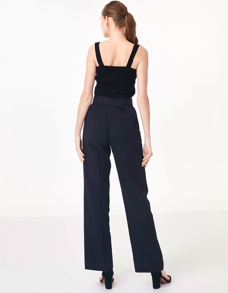 Black High Waisted Belted Pants