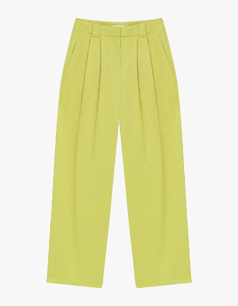 Yellow High Waisted Pleated Pants