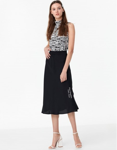 Black Satin Skirt With Slogan Print
