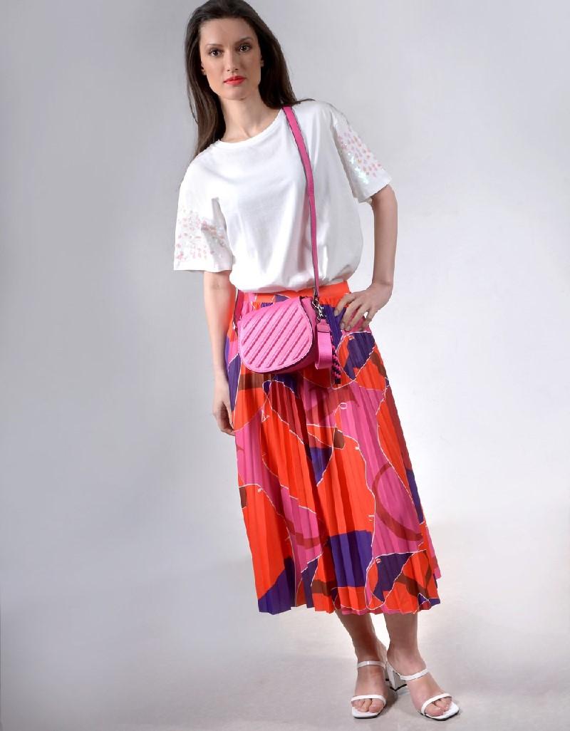 Orange Pleated printed skirt