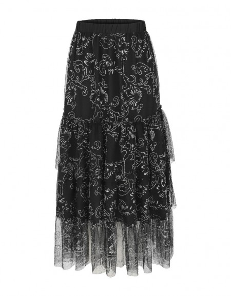 Black Layered metalic print skirt