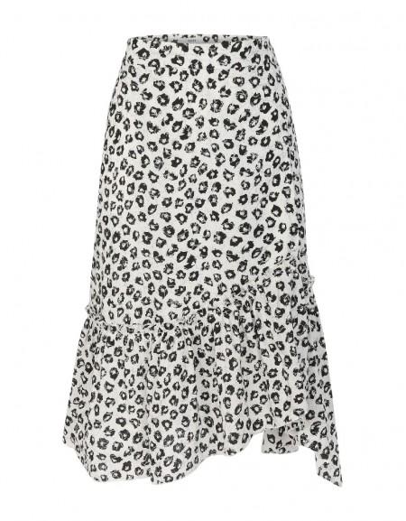 Black Leopard print ruffle skirt